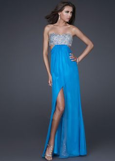 Peacock Open Back Slit Strapless Beaded Long Prom Dress 2014