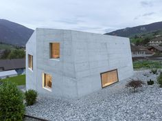 Completed in 2013 in Sierre, Switzerland. Images by Thomas Jantscher . This house is located in the vineyard of sierre, up against a cliff. Responding to this mineral environment, the building is meant to be seen as a...
