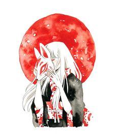 This is a digital print based of my original painting. Japan Illustration, Watercolor Print, Watercolor Illustration, Watercolor Japan, Watercolour Tattoos, Digital Illustration, Kitsune Maske, Arte Sketchbook, Animes Wallpapers