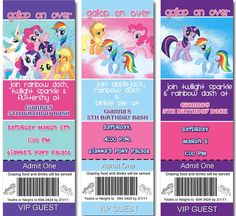 My Little Pony birthday invitation ticket by stacysscrapsnmore, $13.00