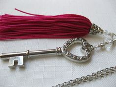 Tassel large Key charm Crystal beads silver necklace Long layering Trendy silver jewelry Casual Everyday Dressy Valentine Hearts Key Tassel - pinned by pin4etsy.com
