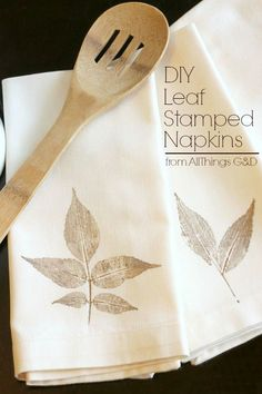 No two are exactly alike - lovely DIY leaf-stamped napkins