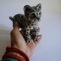 Cute Needle felted project wool animals leopard(Via @elinadetsi)