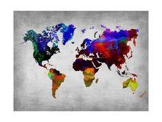 World Watercolor Map 12 Posters par NaxArt sur AllPosters. Art Prints, Map Poster, Watercolor Map, Art Print Display, World Map Poster, Painting, Art, Framed Art Prints, Posters Art Prints