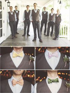 I kind of like the darker pants and vest idea, and of course the bow-ties!