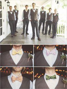 groomsmen with assorted bowties