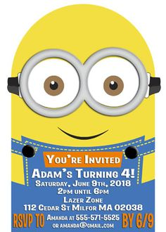 Vector minions 2 free vector despicable me minions minions minions inspired die cut birthday party invitations stopboris Image collections
