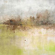 Granulated Peridot Wall Art by Maeve Harris from Great BIG Canvas. Square abstract painting with a brown and black paint splattered horizon line with a grey and white sky above and light green and white land below. Granulated Peridot Wall Art by Maeve Harris from Great BIG Canvas.