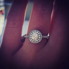 A. Jaffe Round Diamond Halo Engagement Ring