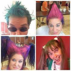 it's Crazzzzzy Hair Day at kids camp! 4 members of kidzturn are representin' #crazyhairday #kidscamp #kidscamp2013  - New Jersey/New York Kids Camp - Gibson PA - July 29 - August 2 2013