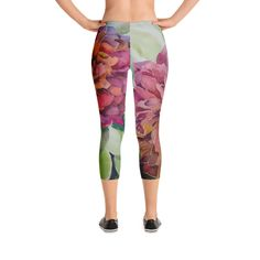 Two Flowers- Capri Leggings Watercolor Painting on leggings Yoga Capris, Spandex Material, Capri Leggings, Watercolor Paintings, Pajama Pants, Fabric, Flowers, Fashion, Sleep Pants