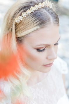 Beautiful bridal headpiece with gold or silver filigree fans and delicately wired with crystal detail to the front. Giving a lovely vintage vibe with a modern twist. All my designs are made by hand in my UK studio. Styling by @lefkasweddings #wedding headpiece #bridalheadpiece #vintagewedding