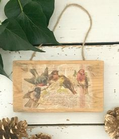 Wood Sign with Birds Christmas Decorations Christmas by SCWVintage