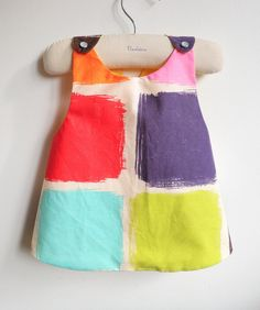 Girls Dress  Reversible Pinafore Top  por chocolatineboutique