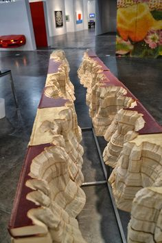 Guy Laramee sculpture...This canyon carved out of books by Guy Laramee at JHB als