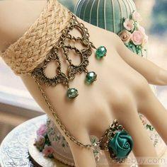Bohemian Retro Blue Rose Flax Women's Rings Bracelets : Tidebuy.com