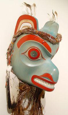 Blue Bear Mask by Ken Mowatt, Gitxsan artist (W61121)