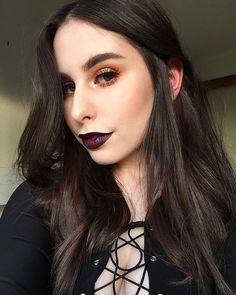 Orange halo eye and dark lip #makeup #beauty