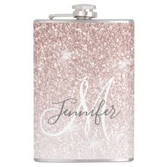 Girly Rose Gold Glitter Monogram Bachelorette Flask