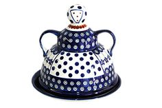 Blue Rose Polish Pottery: Flowering Peacock Cheese Lady