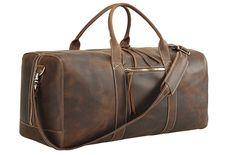 LeftOver Studio Expandable Weekend Overnight Travel Duffel Bag in Black Top Grain Cow Leather