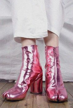 maison martin margiela metallic pink tabi boots