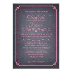 Pink Vintage Chalkboard Wedding Invitations