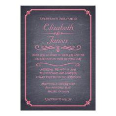 Pink Vintage Chalkboard Wedding Invitations