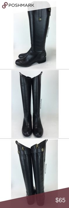 Sam Edelman Penny Black Tall leather ridding boots Does not include the original box. Black leather.  Back zipper entry.  Excellent condition. A few tiny spots that look like they will wipe off. Sam Edelman Shoes