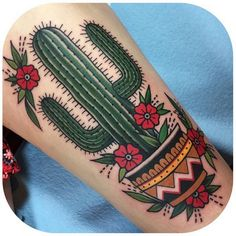 Cactus With Flowers And Flower Pot Traditional Tattoo