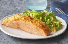 Parmesan Baked Salmon Recipe - Kraft Recipes Mayo, Parmesan and a RITZ Cracker coating make this baked salmon dish irresistible. Salmon Dishes, Fish Dishes, Seafood Dishes, Fish And Seafood, Kraft Foods, Kraft Recipes, Baked Salmon Recipes, Fish Recipes, Seafood Recipes