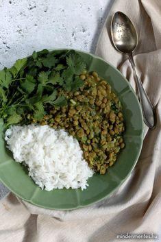 Egyszerű dahl - Nóra mindenmentes konyhája Lentils, Chickpeas, Vegan Recipes, Curry, Beans, Food And Drink, Healthy Food, Foods, Cilantro