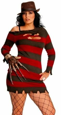 Sexy Female Freddy Krueger Plus Size Halloween Costume b39a985c4