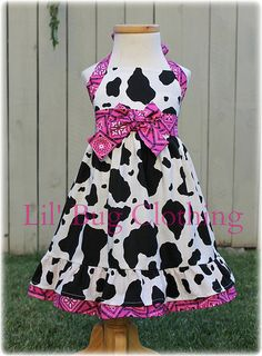 Custom Boutique Clothing Country Hot Pink Bandana Cowgirl Western Jumper Dress Halter Style on Etsy, $42.00