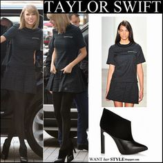 Taylor Swift in matching check print top and mini skirt with black ankle booties