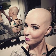 What do you think of her look? Bald Head Women, Shaved Head Women, Girls With Shaved Heads, Bald Tattoo, Tattoos, Bald Girl, Bald Heads, Shaved Hair, Half Shaved