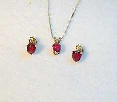 Genuine Red Ruby Jewelry Necklace Post Earring Set, Sterling Silver | MaggieMays - Jewelry on ArtFire