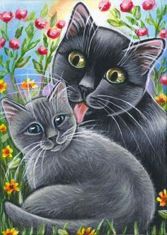 Cats Summer Painting- by Marta Grey Kitten, Black Cat Art, Cat Character, Cat Crafts, Cat Colors, Beautiful Cats, Animal Paintings, Cat Love, Pet Birds
