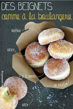 Vous êtes nombreux à consulter ma recette de beignets… Natures, au Nutella®… You are many to consult my recipe donuts … Natures, Nutella®, applesauce … It is true that we can vary the pleasures and just to satisfy them. Donut Recipes, Cake Recipes, Cooking Recipes, Beignet Nature, Beignet Nutella, Nutella Brownies, Brownie Desserts, Food Porn, No Cook Meals