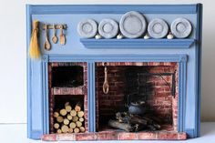Miniature Facade Colonial Hearth Miniature by TheLittleGreyRabbit Miniature Rooms, Miniature Kitchen, Miniature Fairy Gardens, Miniature Furniture, Dollhouse Furniture, Girls Furniture, Barbie Furniture, Diy Dollhouse, Dollhouse Miniatures