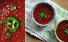 Gazpacho for tomato season...the spicier the better!  2 cups tomatoes, diced  3/4-1 c watermelon chunks  1 jalapeño, diced (optional)  half of a red onion, diced  1 small cucumber with skin, diced small  1 small bell paper, diced  1/4 tsp chili powder  1/4 tsp cayenne  1/4 sea salt  2-3 tbsp red wine vinegar  1 tbsp olive oil  jalapeño slices to garnish  cilantro to garnish