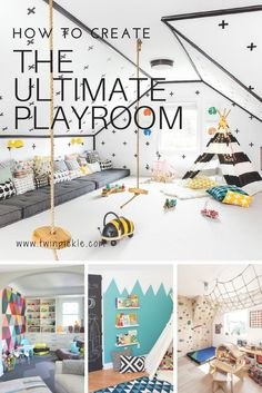 Creating the ultimate playroom requires many things. Your basics include toy storage, activities spaces, and of course it has to ooze fun factor! We're looking at reading nooks, jungle gyms, activity tables and much much more... playroom inspiration! #DIY #homedecor #playroom #momlife #interiordesign #deisgn #homeimprovement