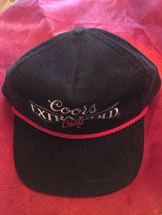 Miller Coors Beer Vintage SnapBack Hat cap Extra Gold Draft Universal Listed as preowned but looks new Nice corduroy hat with embroidered design in white and red braided cord across bill Snapback closure One size fits all All of my items arrive clean and fresh smelling unless otherwise noted from my smoke free home   eBay!