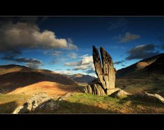 Split Stones Glenlyon Scotland, called 'Praying Hands of Mary' by Angus Clyne