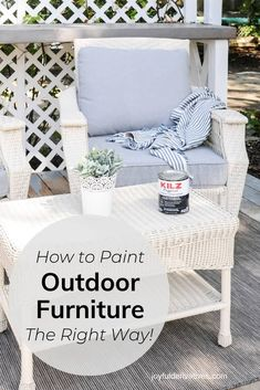 How to Paint Outdoor Furniture that will Last - Joyful Derivatives Painted Outdoor Furniture, Painting Wicker Furniture, Painted Wicker, Rattan Furniture, Diy Furniture, Outdoor Paint, Outdoor Chairs, Outdoor Decor, Outdoor Spaces