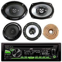 JVC Bluetooth In Dash CD AM FM 4X 6x8 Speakers 4X Speaker Harness 50Ft Wire