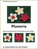 Free Plumeria crochet pattern from http://www.planetjune.com/blog/free-crochet-patterns/plumeria/#.