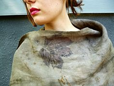 Eco Dyed Linen Scarf Natural Dye with Nuts Iron and by SheGathers