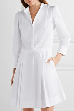 White cotton-poplin Partially concealed button fastenings along front 100% cotton Dry clean Made in Italy