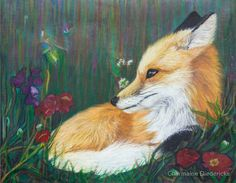 Fox in flowers print by artist Charmaine Diedericks. Available on Redbubble. Original done with soft pastels on 800 grid sandpaper, available directly from artist and payable through Paypal.